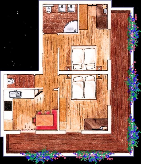 Gezeichneter Grundriss vom Apartment Griessenkar