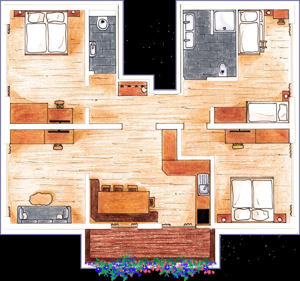 Gezeichneter Grundriss des Apartments Hochbifang