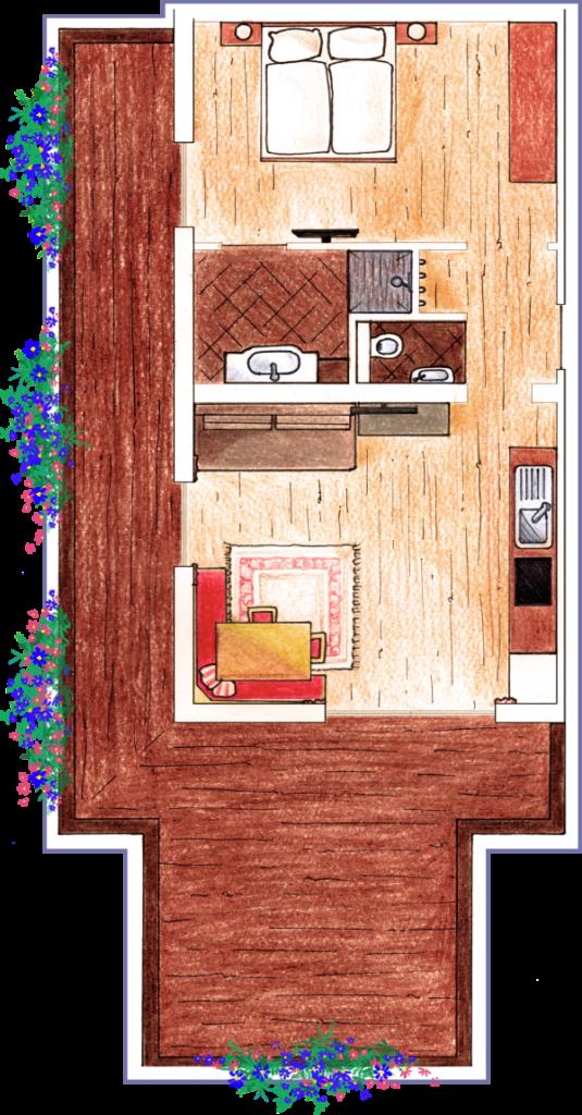 Gezeichneter Grundriss des Apartments Lackenkogel